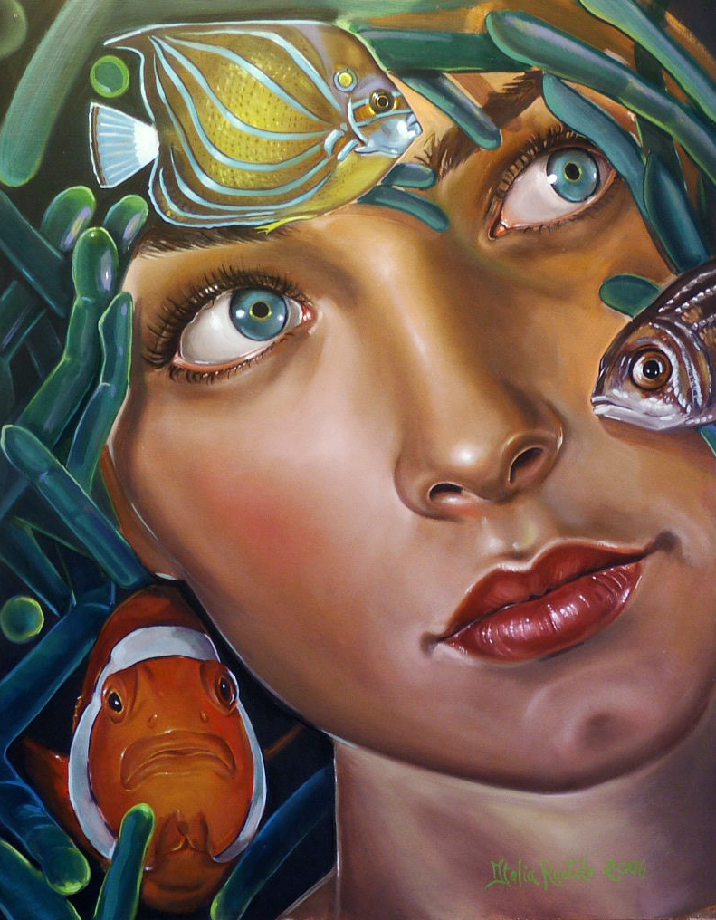 Aquarious by Italiar - Oil on Masonite