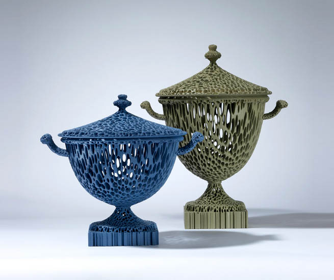 """The Wedgwoodn't Tureens"" in Blue and Dusty Green."