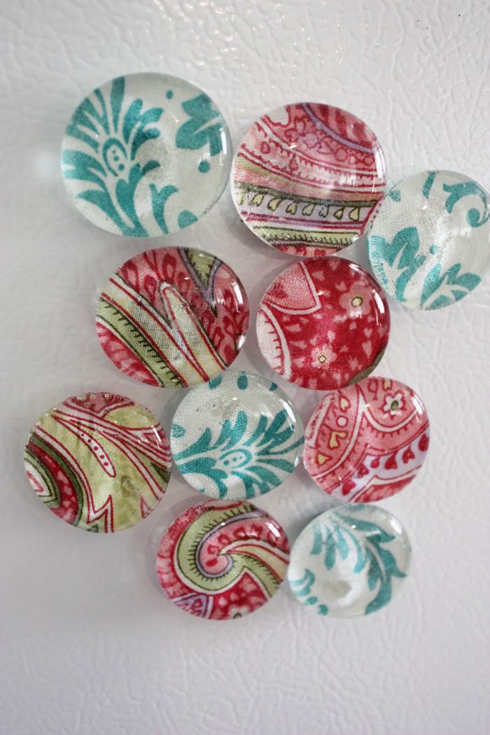 DIY Glass Fabric Magnets by Martha Anne Phillips