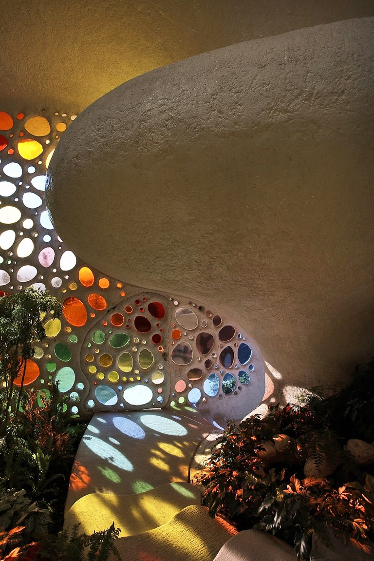 The Nautilus House by Javier Senosiain - Stained Glass Foyer Detail