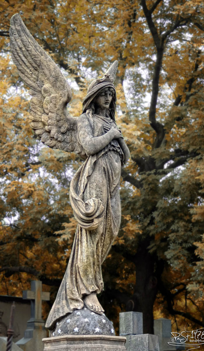 Angel by past1978 - One of the many tombstones in the Slavin cemetery of Prague