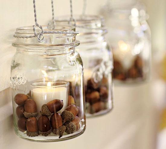 Acorn Decorated Mason Jars