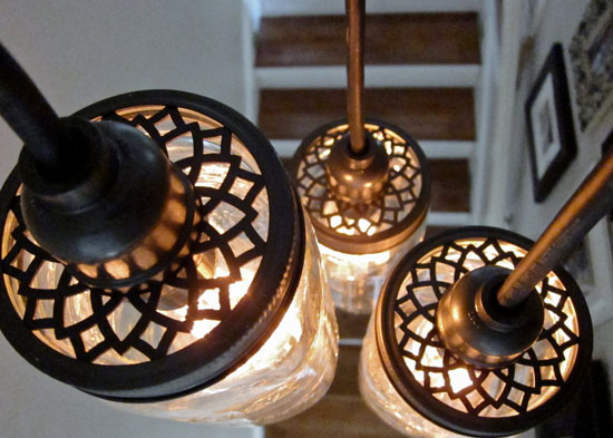 Custom Aluminum Lids For DIY Mason Jar Pendant Lighting & Chandeliers