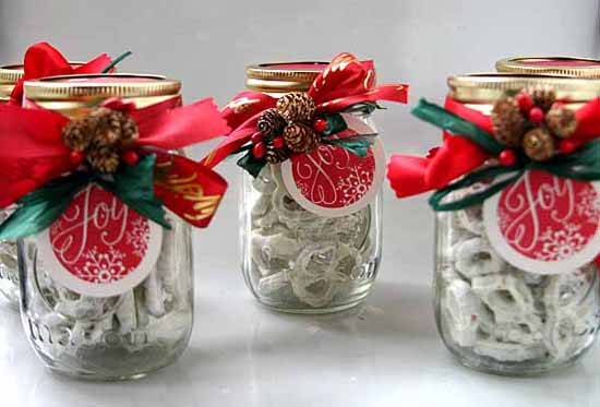 white chocolate pretzels in a decorated mason jar