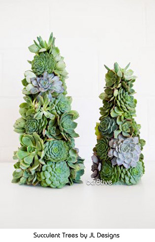 Succulent Trees by JL Designs http://jldesigns.blogspot.com/2010/12/jl-designs-holiday-collection-2010.htm