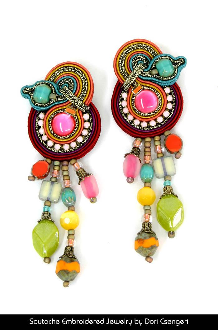 Soutache Embroidered Jewelry by Dori Csengeri - Quadrille Earrings