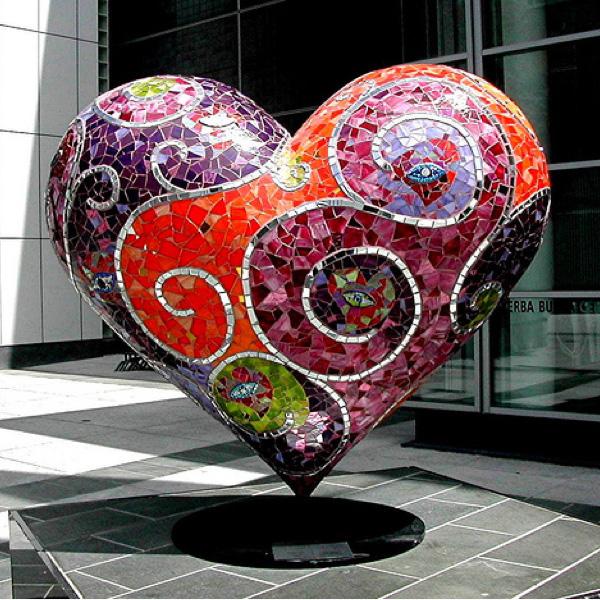 Mosaic Heart by Artist Laurel True in San Francisco @ http://www.truemosaics.com/gallery_public_02.html#