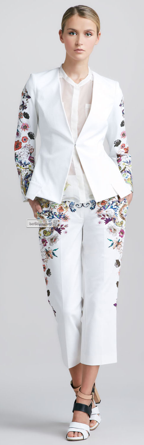 Etro Floral-Sleeve Jacket, Oversized Silk Organza Blouse & Cropped Pants