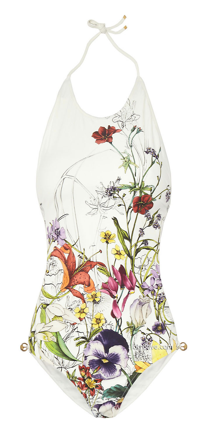 Gucci Floral-Print Backless Swimsuit