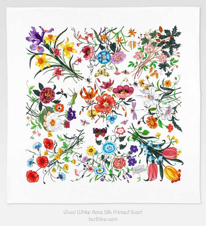 Gucci 90x90cm white flora silk printed scarf