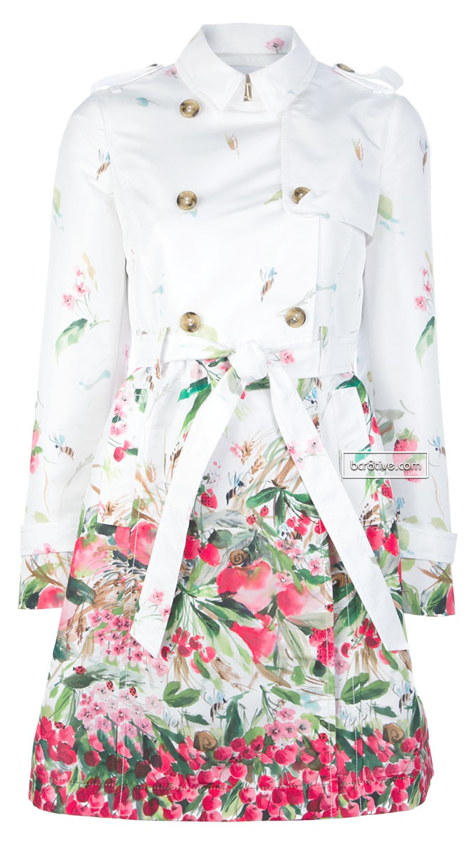 RED VALENTINO belted floral print trench