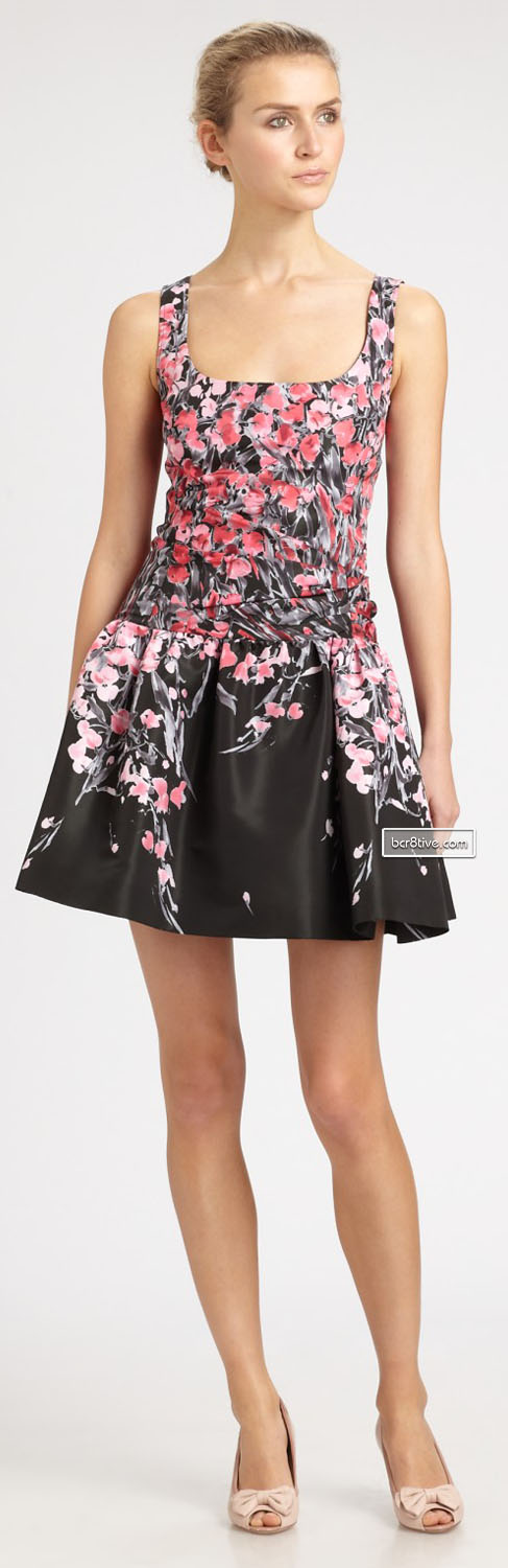 Red Valentino Printed Dropped-Waist Dress