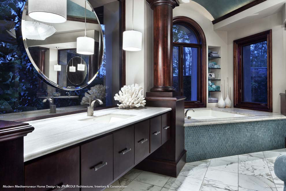JAUREGUI Architecture, Interiors & Construction - Gorgeous Modern Mediterranean Bathroom