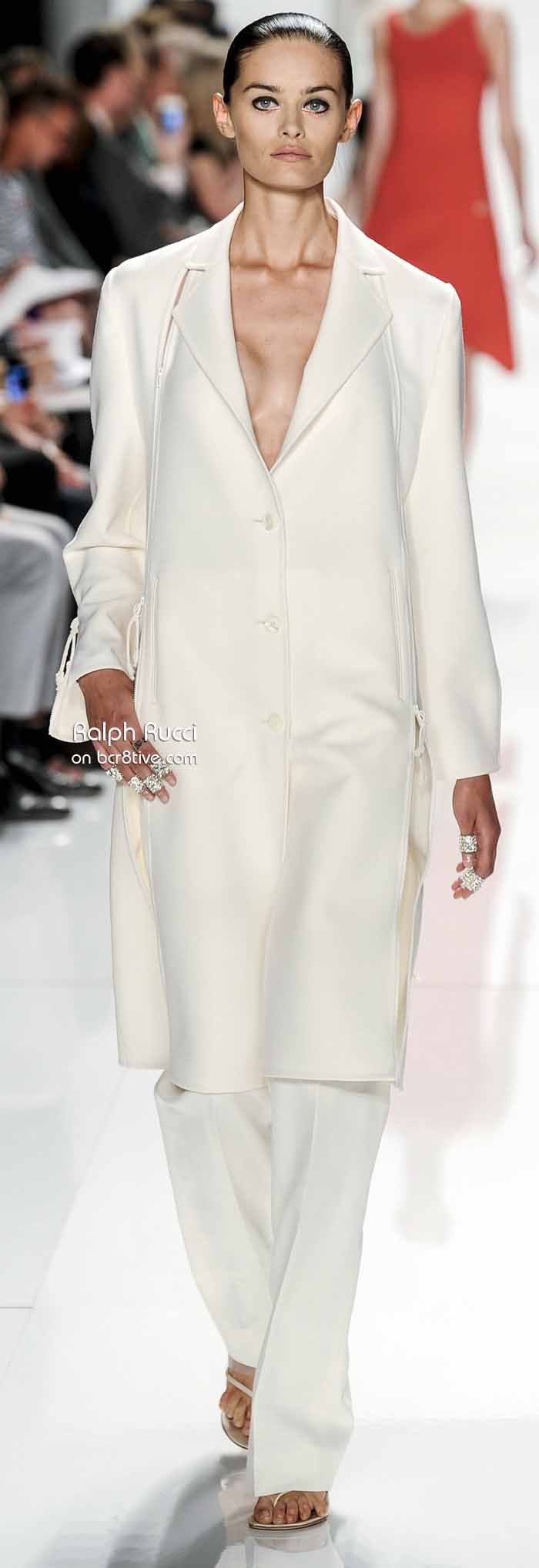 Ralph Rucci Spring 2014 #NYFW - Knee Length Off White Coat