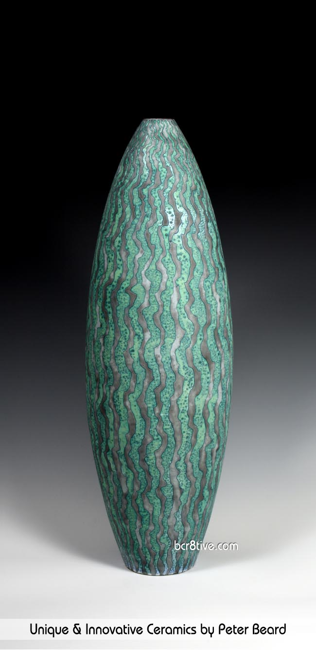 Peter Beard Ceramics - Green and Gray Vessel