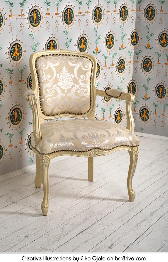 Eiko Ojala - Fashion Wallpaper - Remake of a 18th century wallpaper for Musée du papier peint.