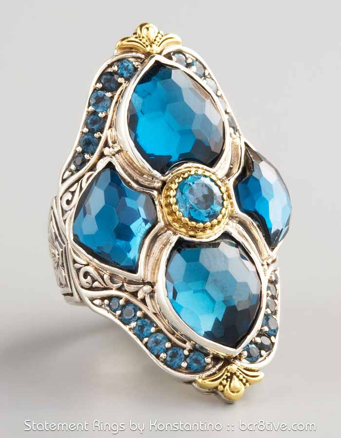 Konstantino London Blue Topaz Figure 8 Ring