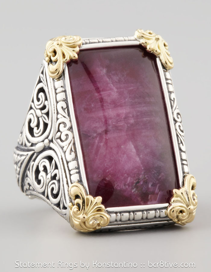 Konstantino Rectangle Silver & 18k Gold Ruby Quartz Ring
