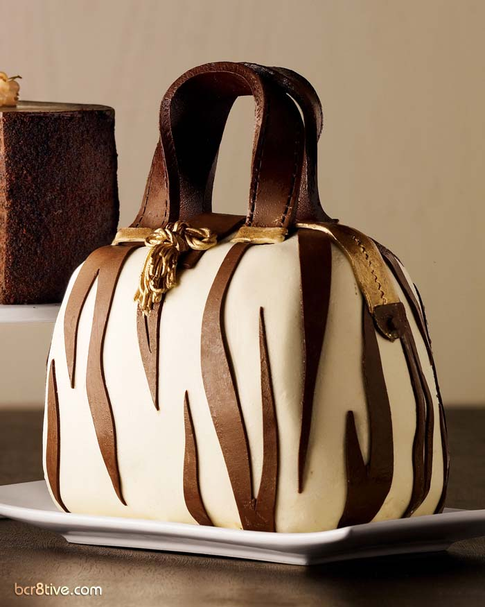 Zebra Striped Handbag Cake