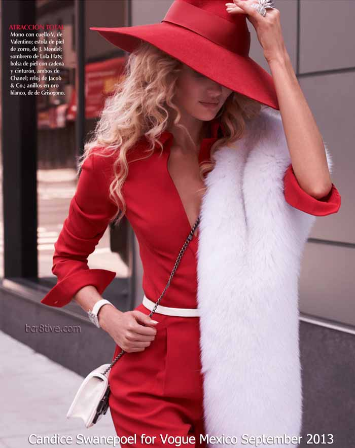 Candice Swanepoel for Vogue Mexico September 2013 - Mono-neck V, Valentino - J. Mendel Hats Lola hat