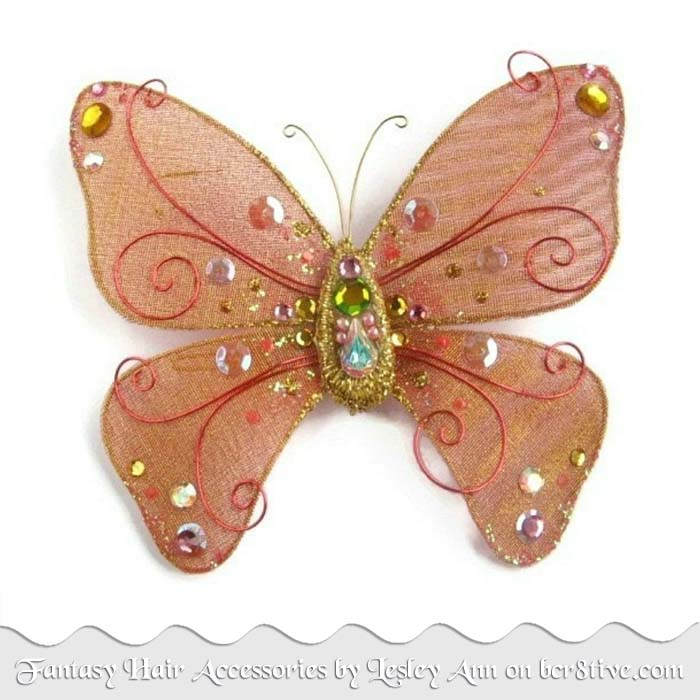 Orange Butterfly Hair Accessory by Lesley Ann