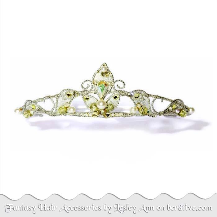Silver & Green Tiara by Lesley Ann