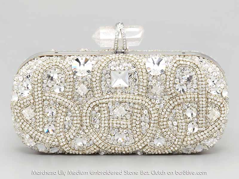 Marchesa Lily Medium Embroidered Stone Box Clutch