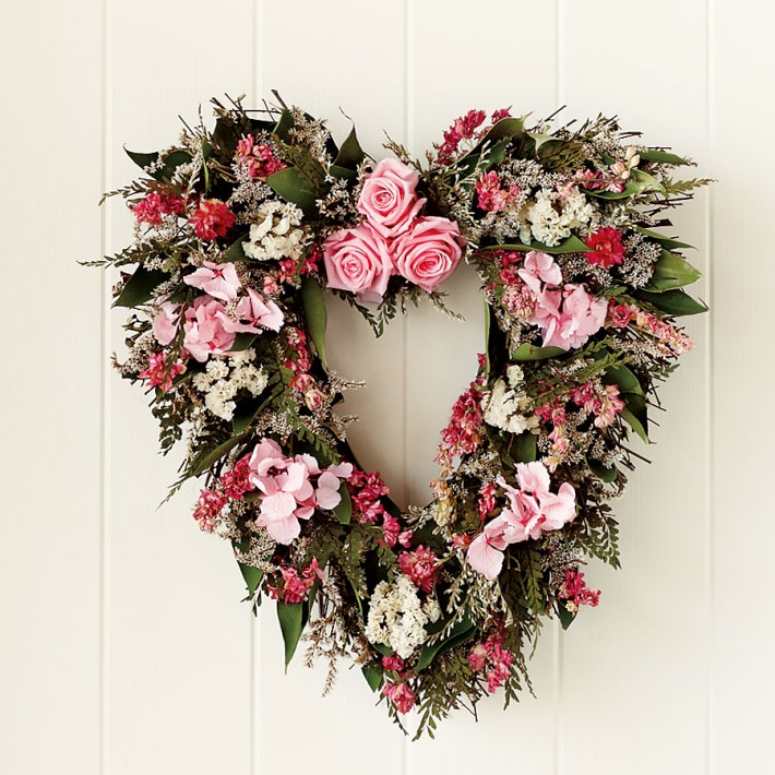 Williams Sonoma - Pink Rose & Heart Wreath