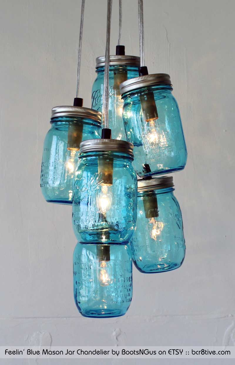 Feelin' Blue Mason Jar Cluster Chandelier by BootsNGus