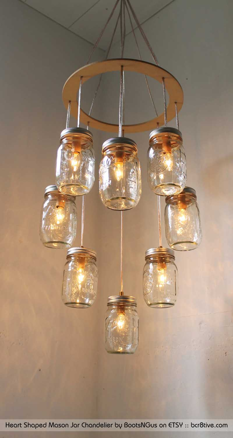 Creative upcycled lighting heart shaped mason jar chandelier by bootsngus arubaitofo Gallery