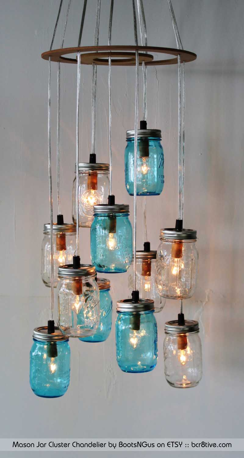 Creative upcycled lighting mason jar cluster chandelier by bootsngus arubaitofo Gallery