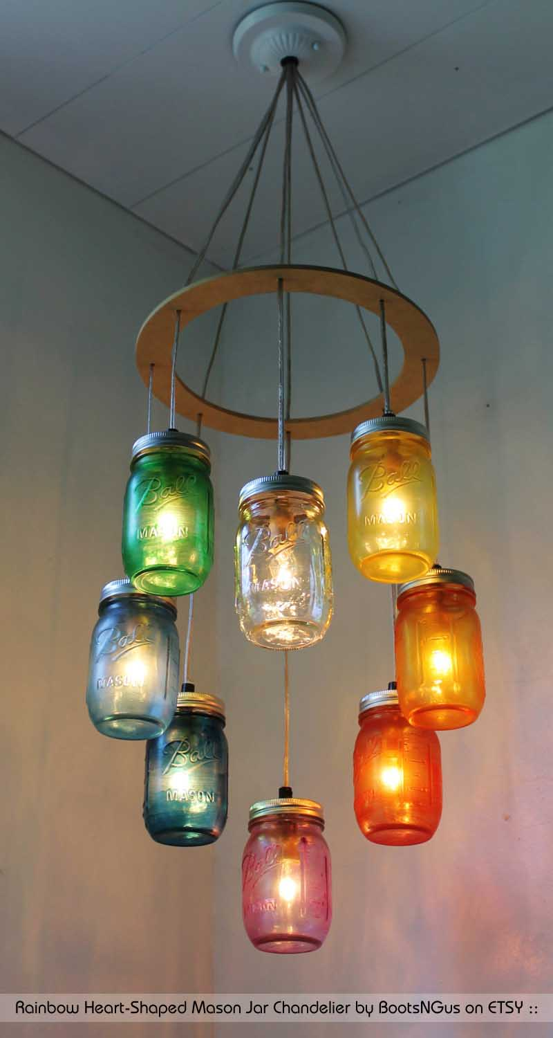 Rainbow Heart Shaped Mason Jar Chandelier by BootsNGus