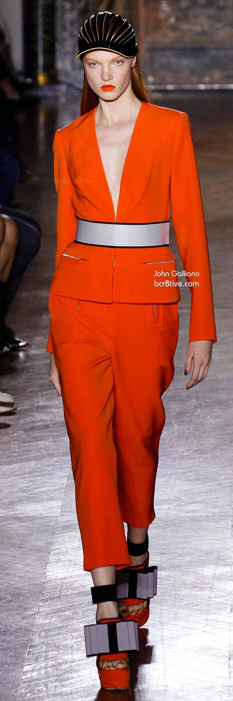 John Galliano - Glowing Orange Menswear Inspired Suit