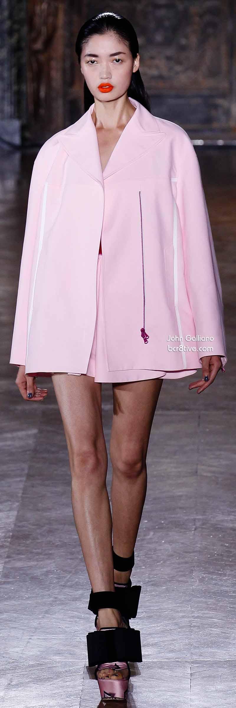 John Galliano - Baby Pink Car Length Coat Dress