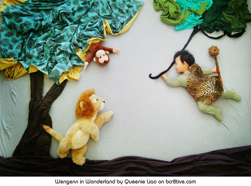 Tarzan and the Lion - Creative Baby Photography by Sioin Queenie Liao