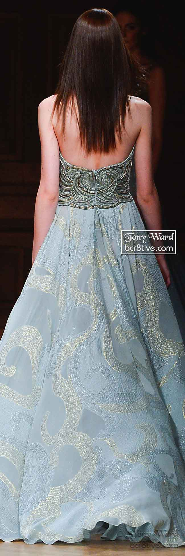 Back of Mint Green Strapless Beaded Gown