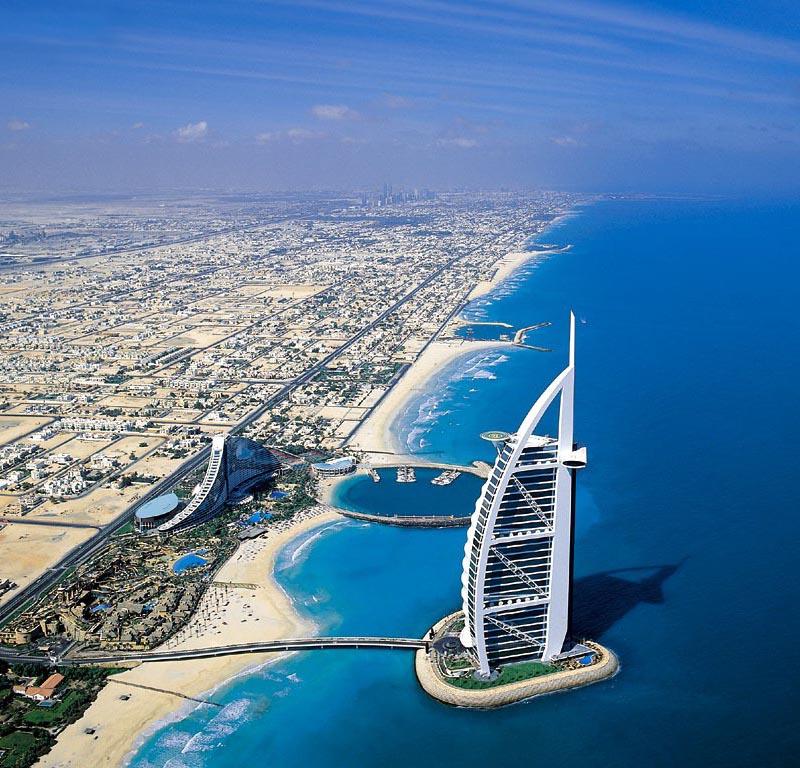 Aerial Photo of Burj Al Arab in Dubai