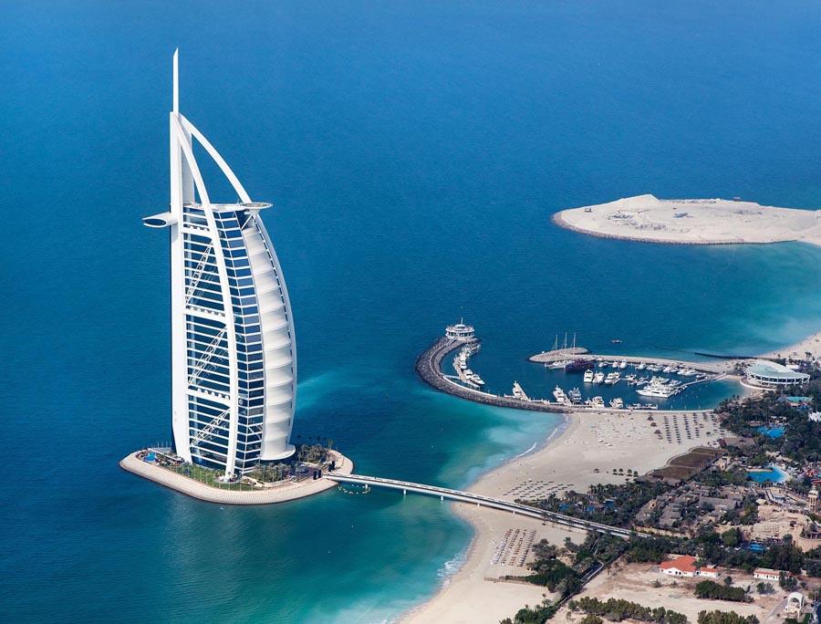 Aerial Image of the Burj Al Arab Jumeirah in Dubai