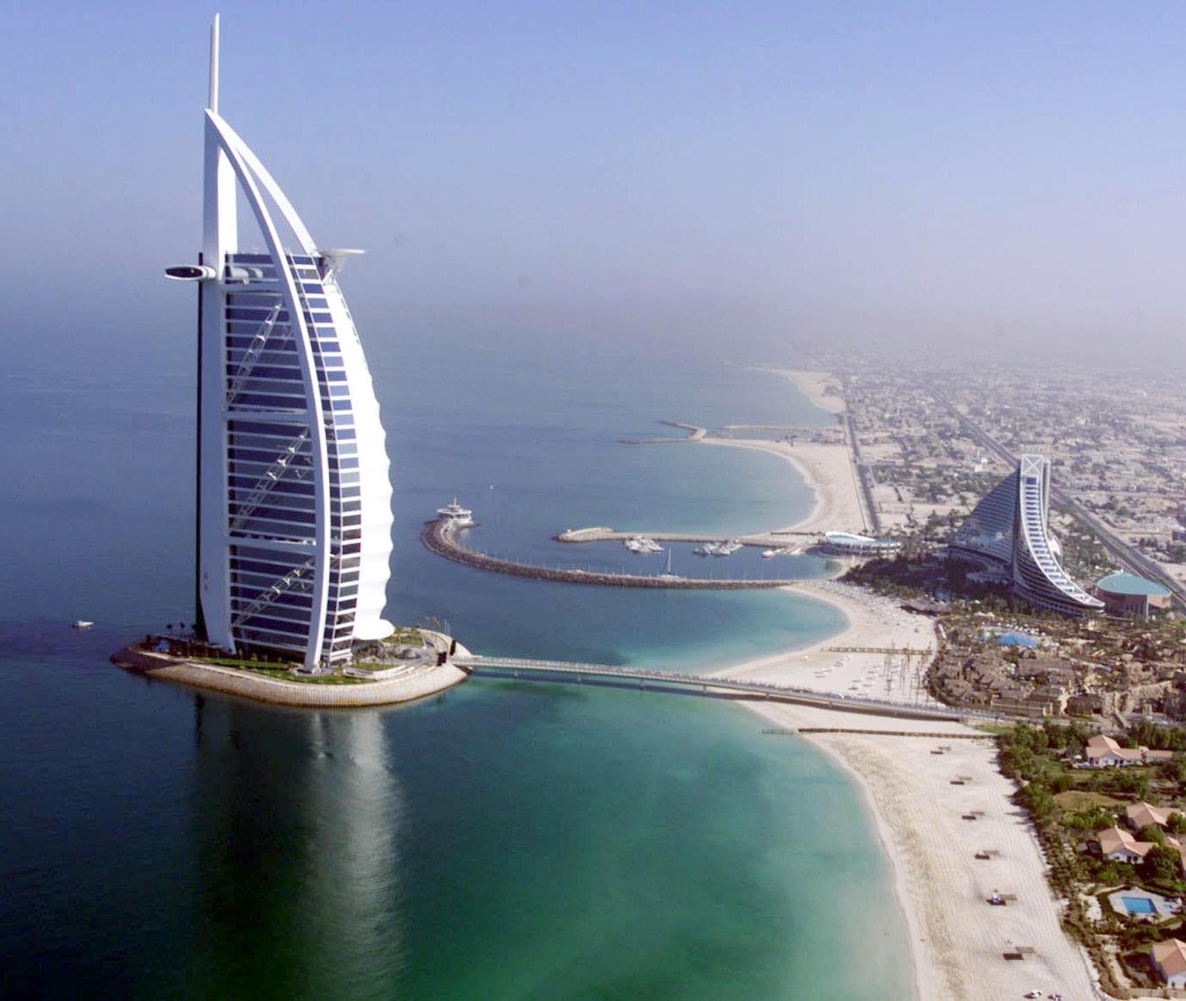 Awesome Aerial View of Burj Al Arab Hotel, Dubai, United Arab Emirates
