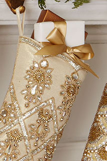 Gold Beaded Embroidered Stockings