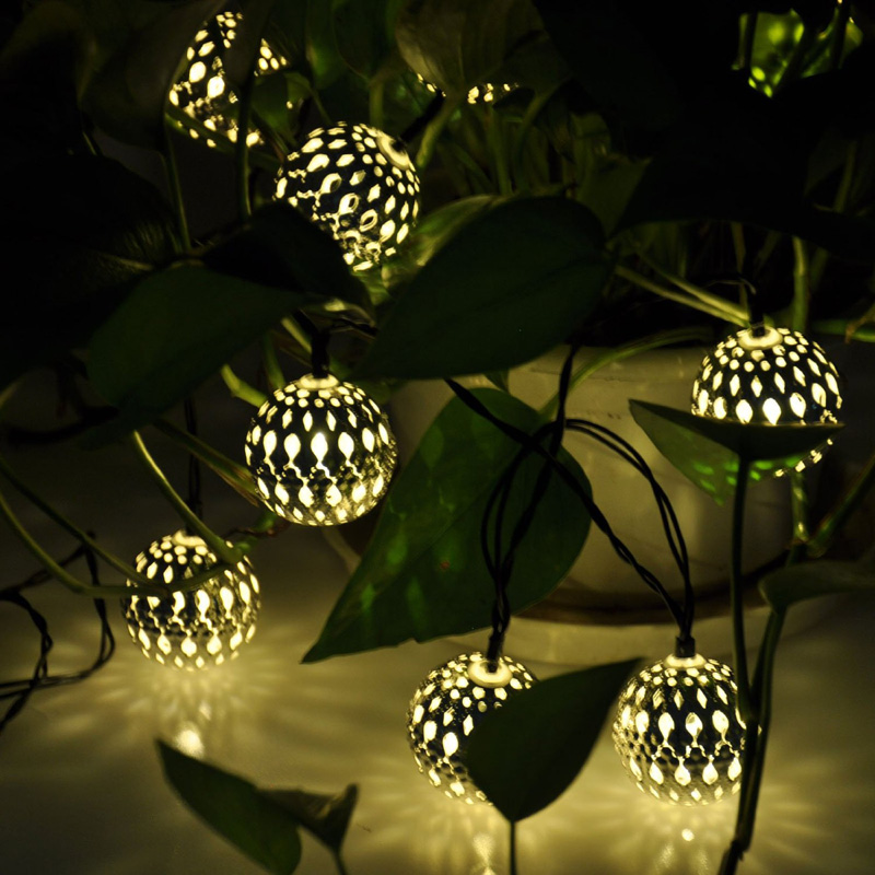 Set of 10 Moroccan Solar String Lanterns LED Fairy Lights Garden Balls
