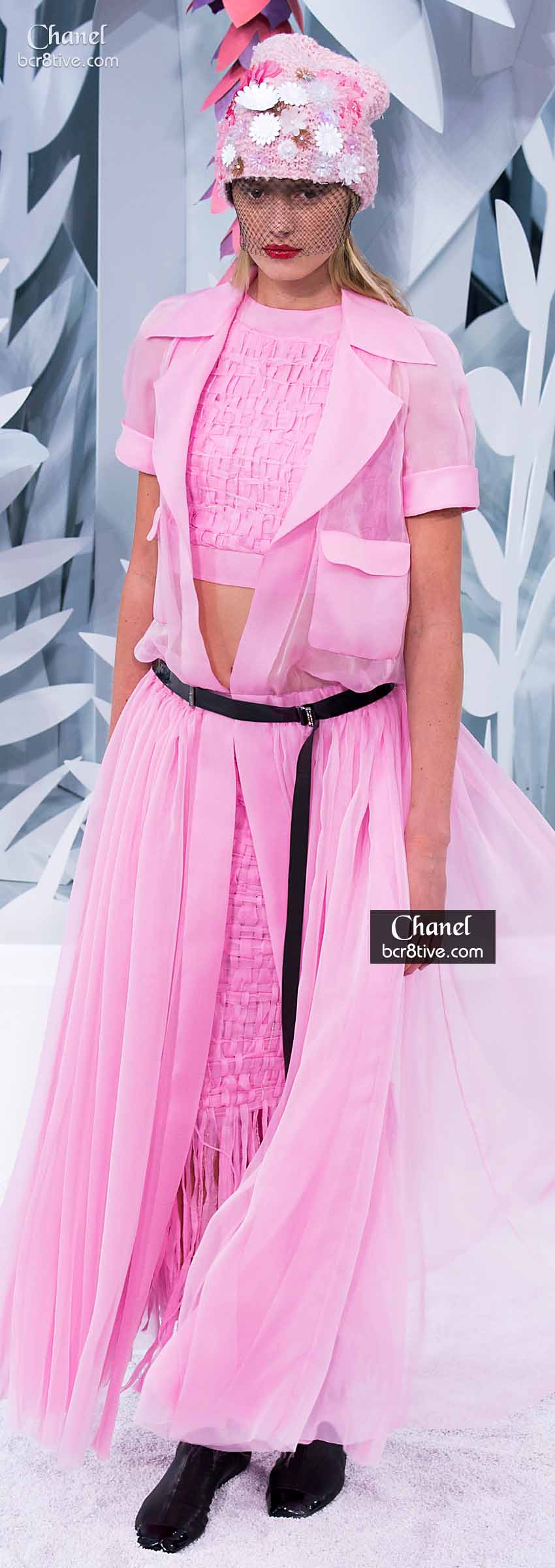 Pink Thick Woven Crop Top & Fringed Maxi with Billowing Sheer Dress Layer