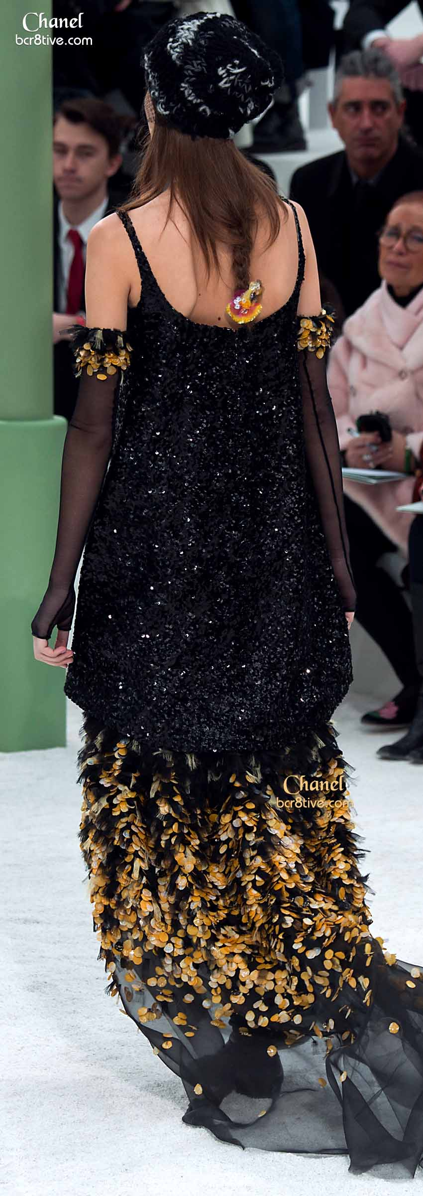 Black Appliqued Gown & Sequined Top