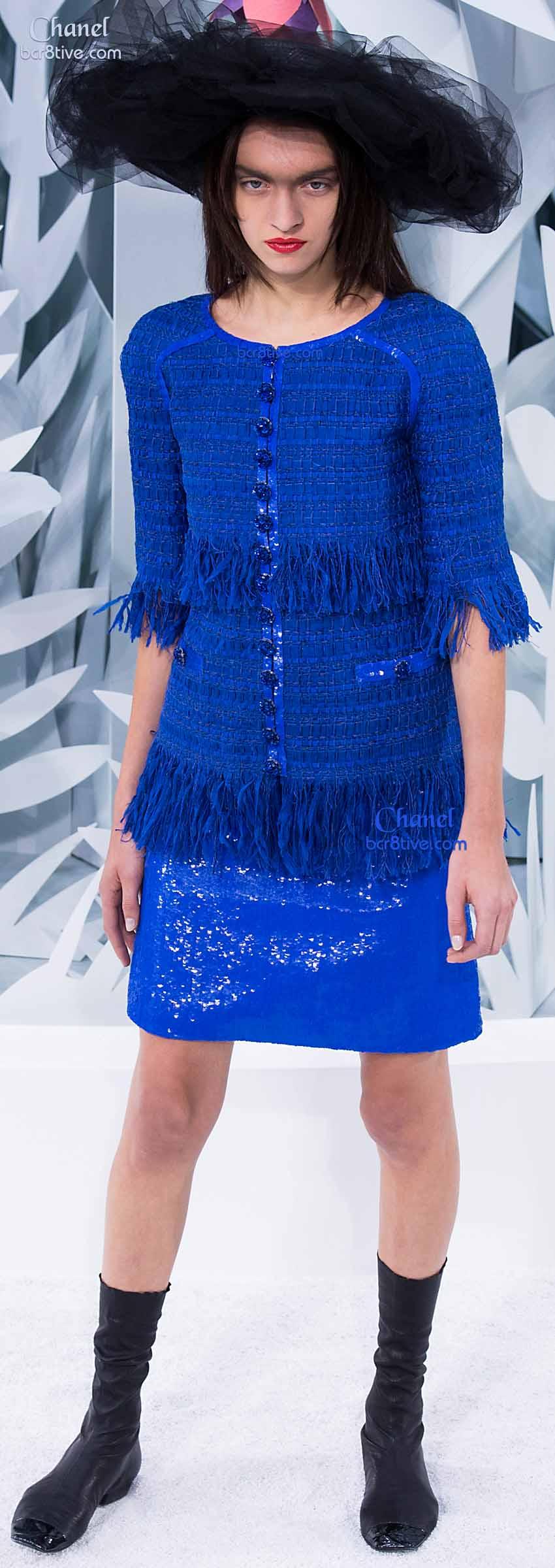 Chanel Blue Sparkle Skirt & Fringe Top