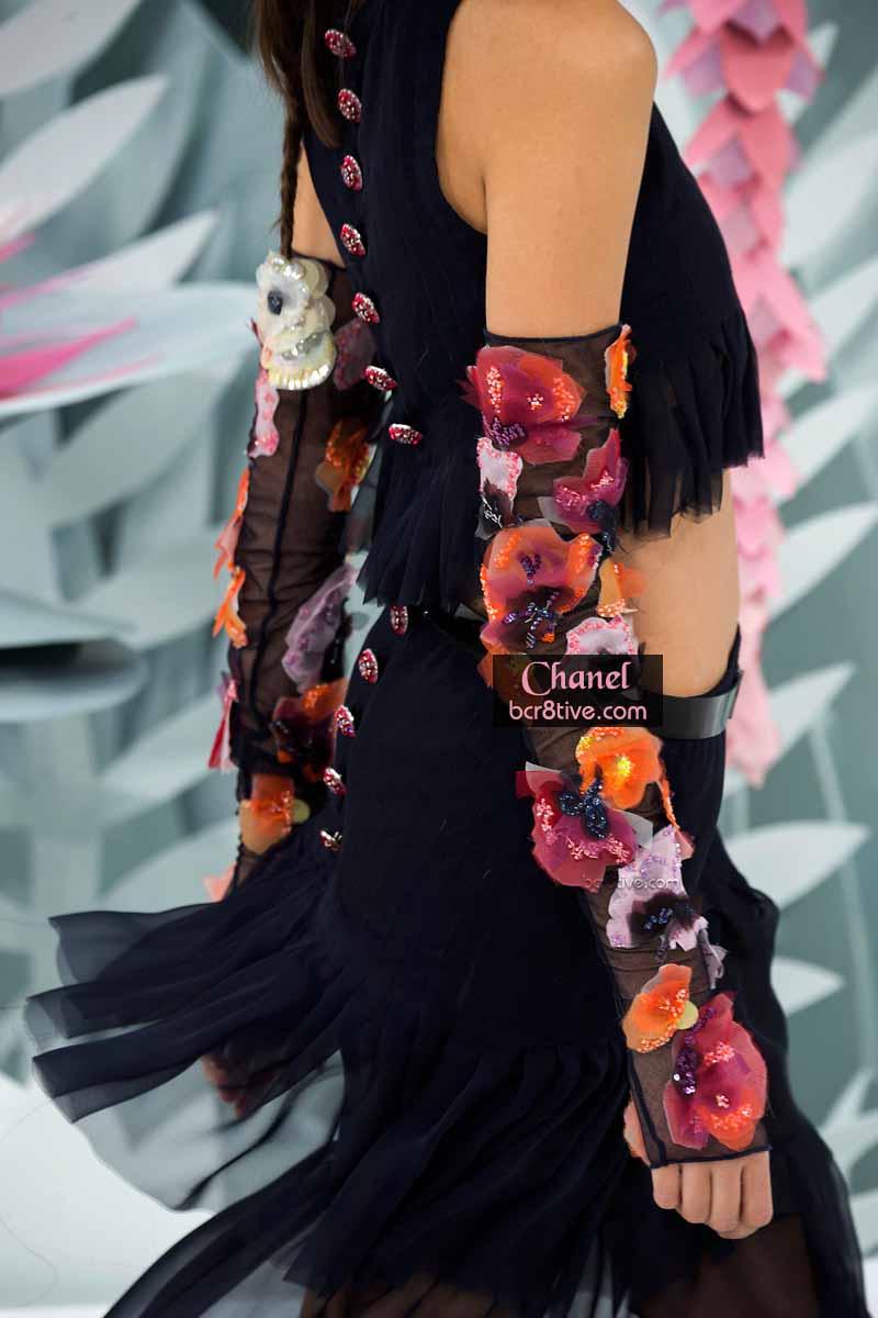 Black 3D Floral Appliqued Arm Length Gloves