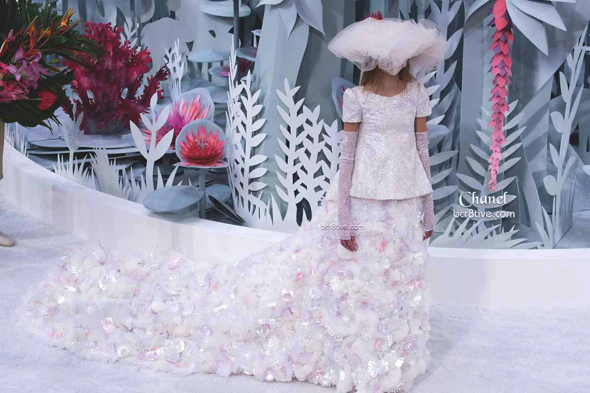 Chanel SS15 Couture Cascading 3D Floral Applique Gown