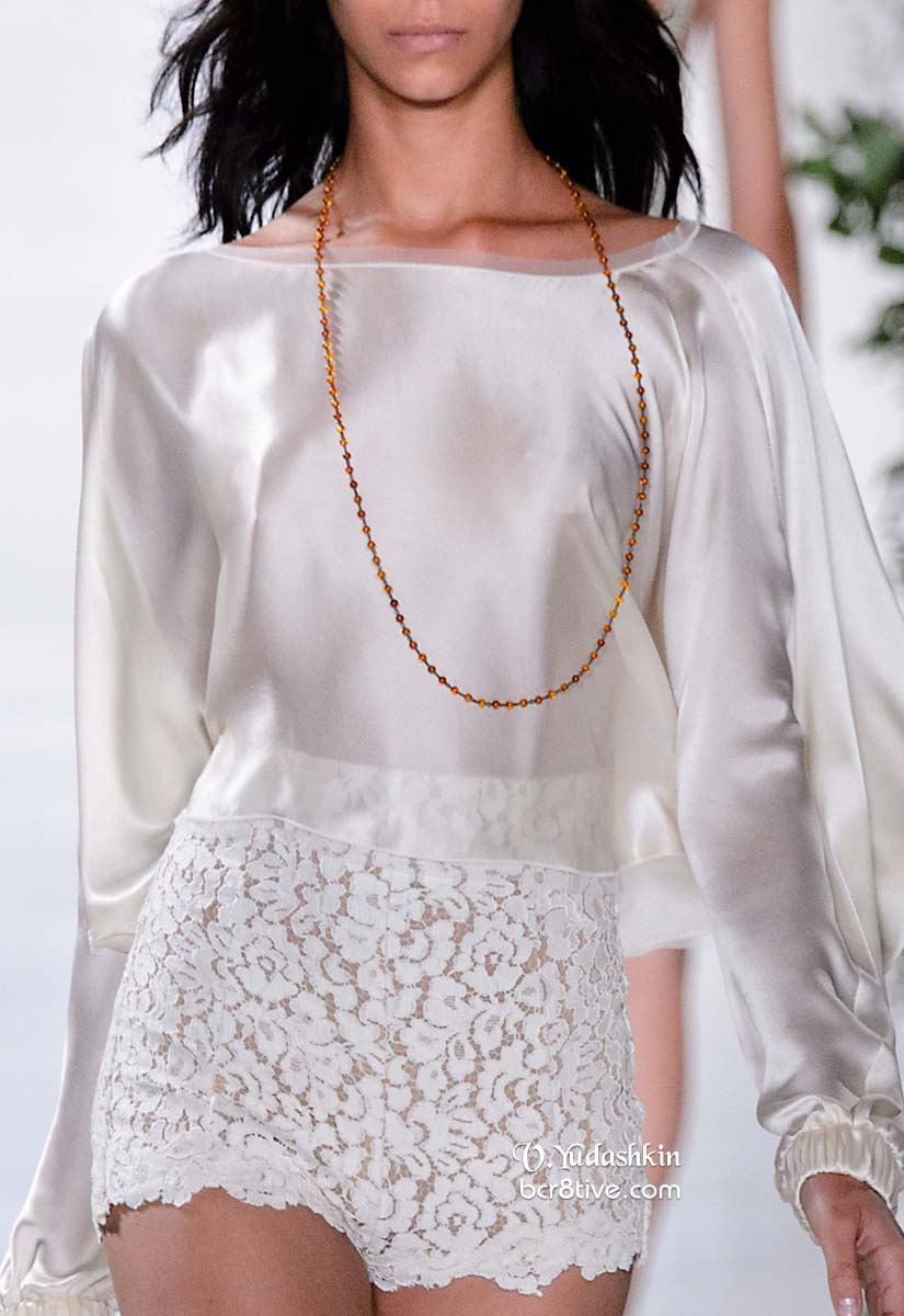 Valentin Yudashkin SS15 White Silk Cropped Top & Lace Shorts