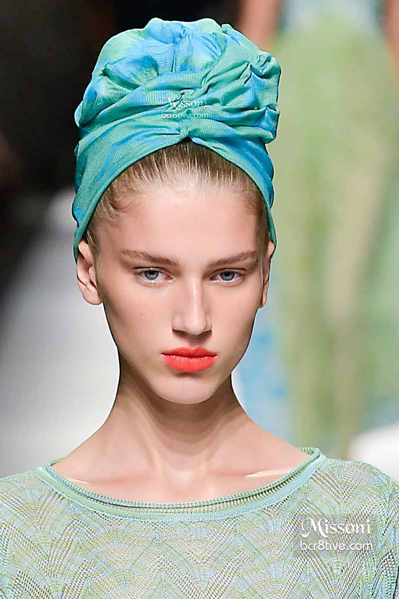 Missoni Spring 2015 Aqua Green Hair Turban