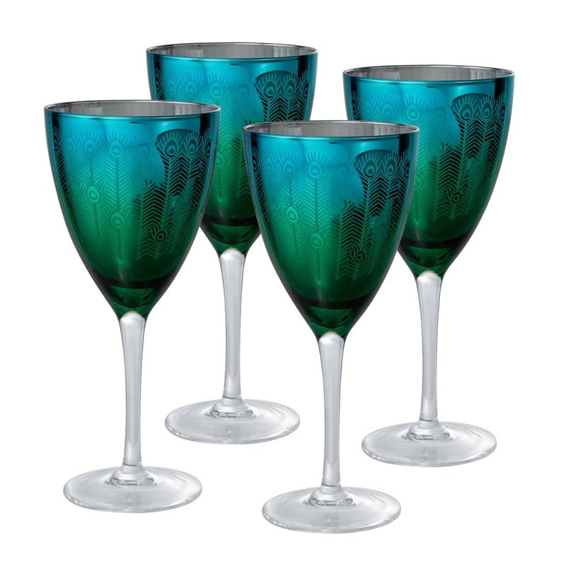 Artland Inc. 8 Oz Peacock Martini Glasses, Set of 4