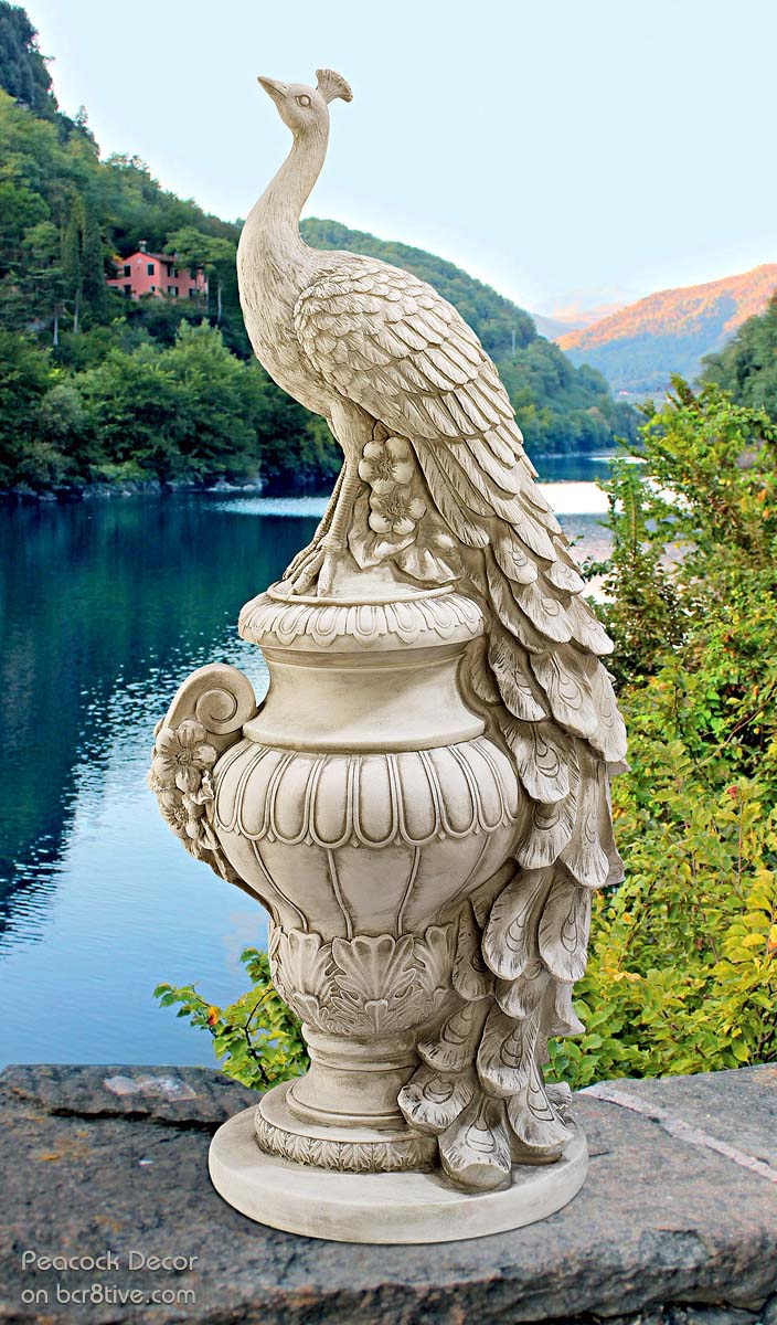 Staverden Castle Peacock on an Urn Garden Statue by Design Toscano